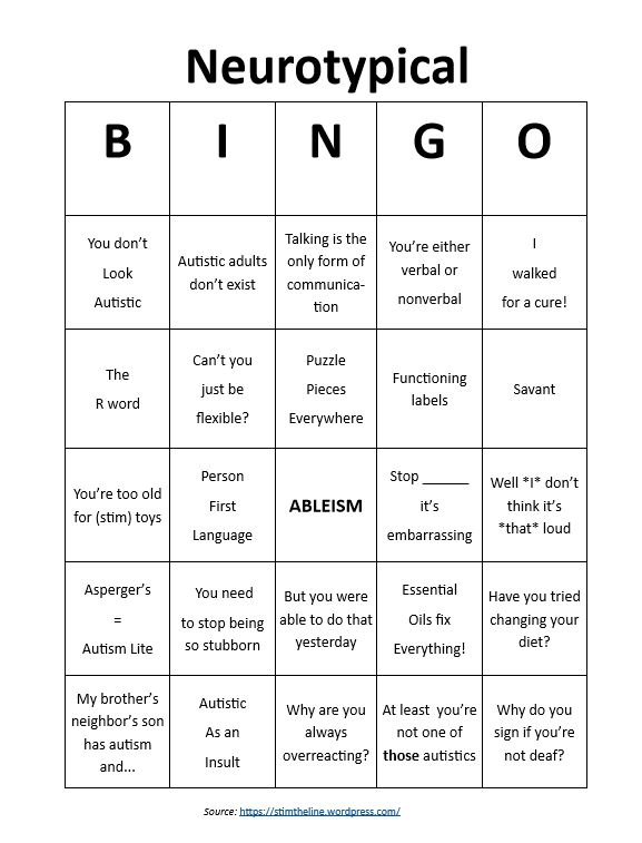 Neurotypical Bingo