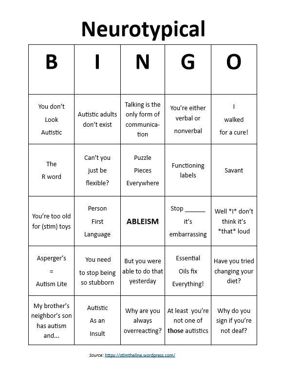 Neurotypical Bingo